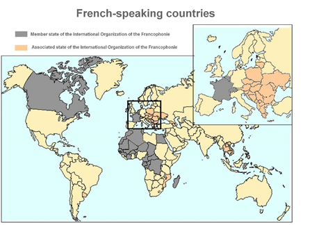 Map of countries where french is spoken